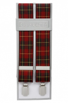 Red Tartan Elastic Trouser Braces With Silver Colour Clips